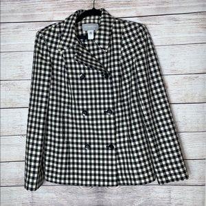 Liz Claiborne Black and White checkered Jacket